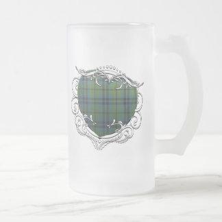 Marshall Tartan Heart Frosted Glass Beer Mug
