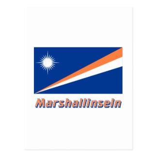 Marshallinseln Flagge mit Namen Postcard