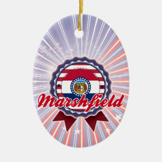 Marshfield, MO Double-Sided Oval Ceramic Christmas Ornament