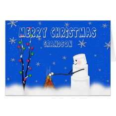 Marshmallow (snowman) Grandson-christmas-humor Card at Zazzle