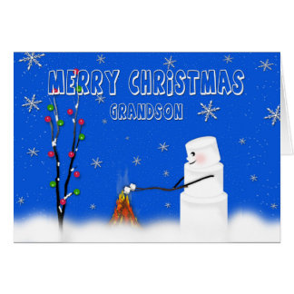 Marshmallow (Snowman) Grandson-Christmas-Humor Card