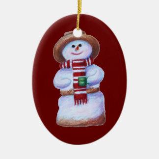Marshmallow Snowman Merry Christmas Double-Sided Oval Ceramic Christmas Ornament