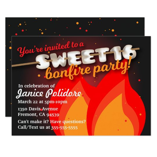 Marshmallow Sweet 16 Bonfire Party Invitation Zazzle Com