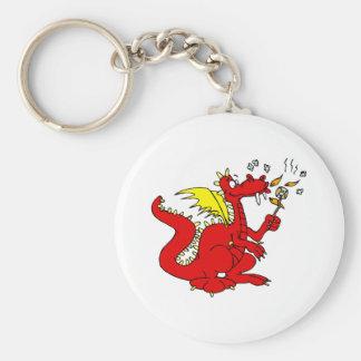 Marshmallow Toasting Dragon Keychain