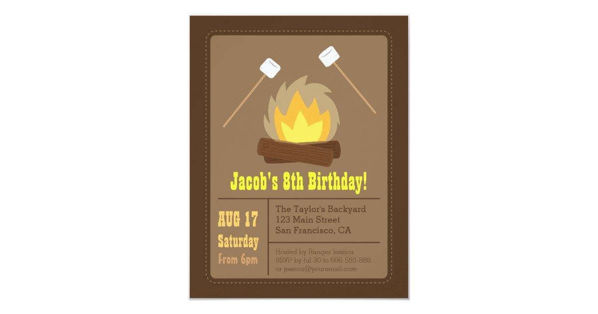 Marshmallows Bonfire Birthday Party Invitations | Zazzle.com