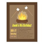 """Marshmallows Bonfire Birthday Party Invitations 4.25"""" X 5.5"""" Invitation Card"""