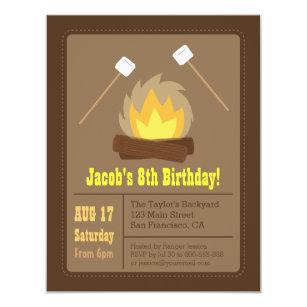 Camping 4x5 Birthday Invitations Zazzle