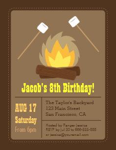 campfire birthday invitations zazzle