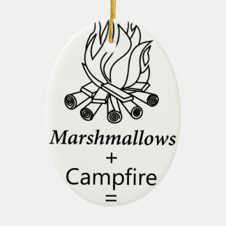 Marshmallows + Campfire = Yay! Ceramic Ornament