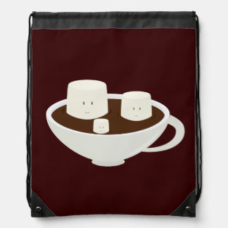 Marshmallows in a cup of hot chocolate backpack