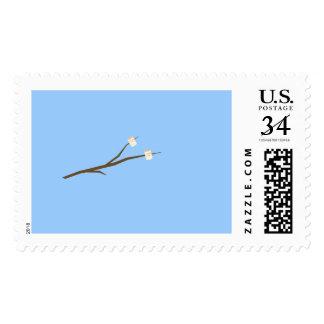 Marshmallows on stick postage stamp