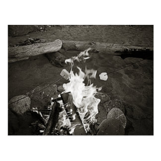 Marshmallows over an open fire post cards