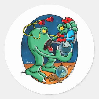 Martain Monster Round Stickers