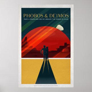 Marte está en la luna el turismo de espacio retro póster