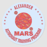 Marte la diversión roja de la Sistema Solar del Pegatina Redonda