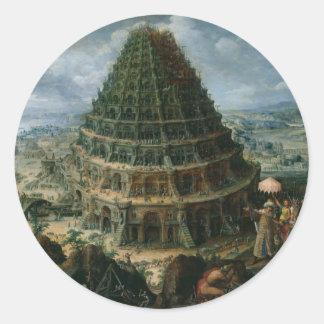 Marten van Valckenborch - The Tower of Babel Classic Round Sticker