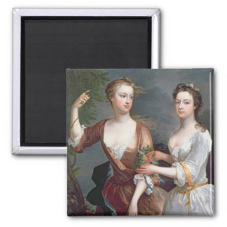 Martha and Teresa Blount, 1716 2 Inch Square Magnet