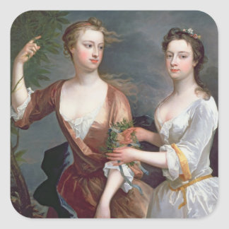 Martha and Teresa Blount, 1716 Square Sticker