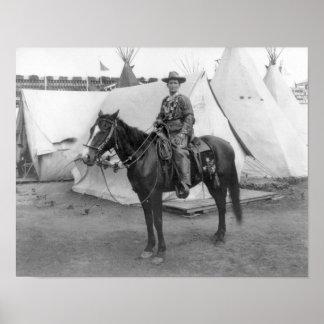 "Martha ""Calamity Jane amarillo"" a caballo Póster"