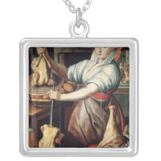 Martha Preparing Dinner for Jesus Silver Plated Necklace