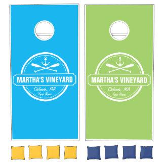 Martha's Vineyard MA custom town nautical anchor Cornhole Set