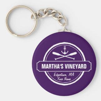 Martha's Vineyard MA custom town nautical anchor Basic Round Button Keychain