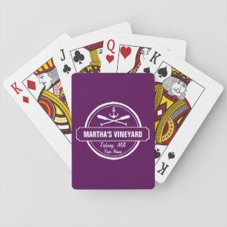 Martha's Vineyard MA custom town nautical anchor Playing Cards