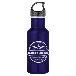 Martha's Vineyard MA custom town nautical anchor Water Bottle