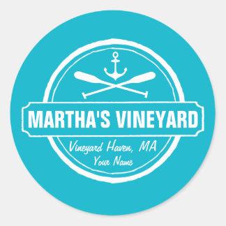 Martha's Vineyard, MA town, name, nautical anchor Classic Round Sticker