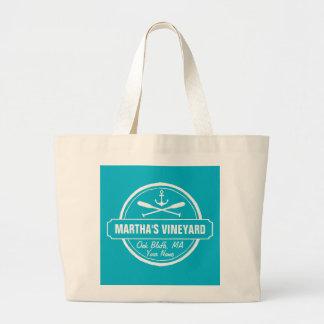 Martha's Vineyard, MA town, name, nautical anchor Large Tote Bag