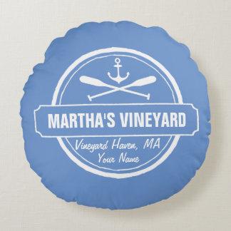 Martha's Vineyard, MA town, name, nautical anchor Round Pillow