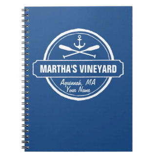 Martha's Vineyard, MA town, name, nautical anchor Spiral Notebook