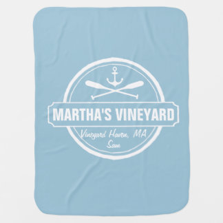 Martha's Vineyard, MA town, name, nautical anchor Baby Blanket
