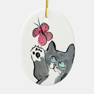 Martha Swings at Red Butterfly Ceramic Ornament
