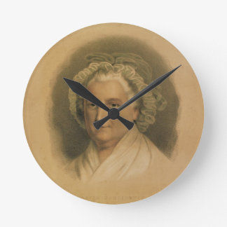 Martha Washington Portrait by Currier & Ives Round Wall Clock