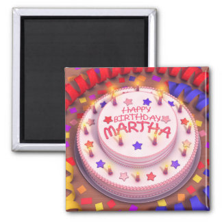 Martha's Birthday Cake 2 Inch Square Magnet