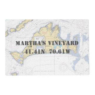 Martha's Vineyar Latitude Longitude Nautical Chart Placemat