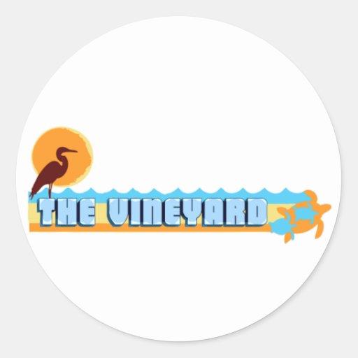 """Martha's Vineyard """"Beach"""" Design. Classic Round Sticker"""