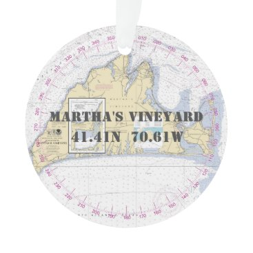 Beach Themed Martha's Vineyard Commemorative Nautical 2-Sided Ornament