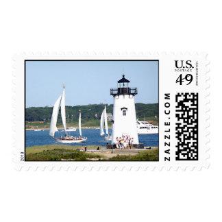 Martha's Vineyard Edgartown Lighthouse and Sailboa Postage Stamp