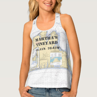 Martha's Vineyard Latitude Longitude Boater's Tank Top