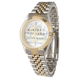 Martha's Vineyard Latitude Longitude Boater's Wrist Watch