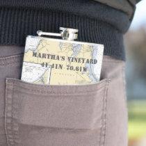Martha's Vineyard Latitude Longitude Nautical Hip Flask