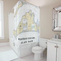 Martha's Vineyard Latitude Longitude Nautical Shower Curtain