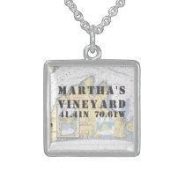 Martha's Vineyard Latitude Longitude Nautical Sterling Silver Necklace