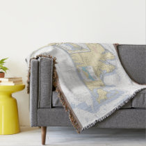 Martha's Vineyard Latitude Longitude Nautical Throw