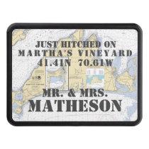 Martha's Vineyard Latitude Longitude Nautical Tow Hitch Cover