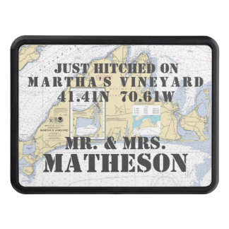 Martha's Vineyard Latitude Longitude Nautical Tow Hitch Cover
