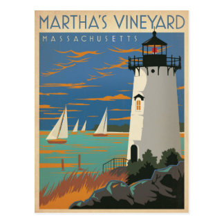 Martha's Vineyard, mA - faro Tarjeta Postal