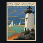 "Martha&#39;s Vineyard, MA - Lighthouse Postcard<br><div class=""desc"">Anderson Design Group is an award-winning illustration and design firm in Nashville,  Tennessee. Founder Joel Anderson directs a team of talented artists to create original poster art that looks like classic vintage advertising prints from the 1920s to the 1960s.</div>"